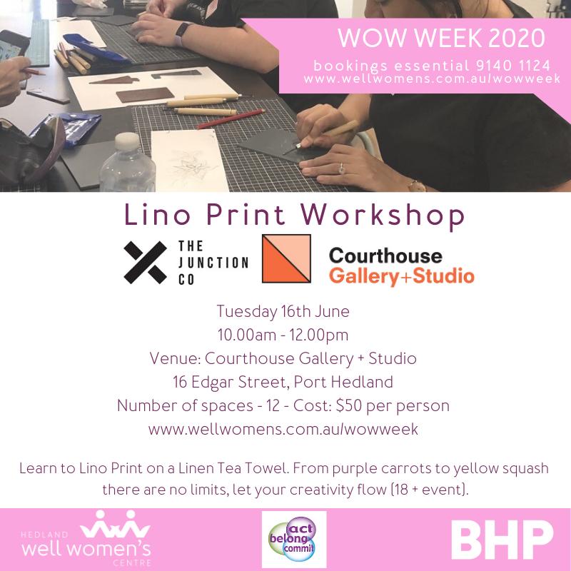 Lino Print Workshop in Port Hedland
