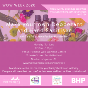 Make Your Own Deodorant and Hand Sanitiser Workshop in Hedland