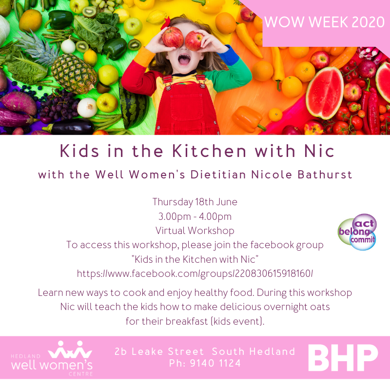 Kids in the Kitchen with Nic Workshop in Hedland